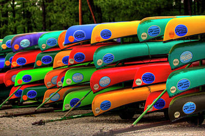Pyrography - Colorful Canoes  by Ester Rogers