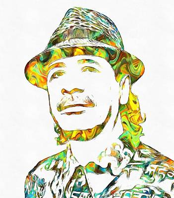 Music Paintings - Colorful Carlos Santana by Dan Sproul