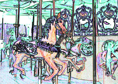 Photograph - Colorful Carousel Horses by Annie Zeno