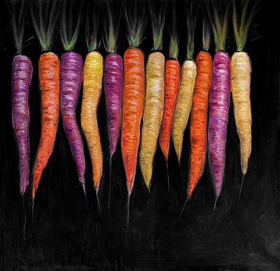 Carrot Painting - Colorful Carrots Vegetable by Atelier B Art Studio