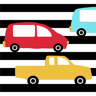 Juvenile Wall Decor Digital Art - Colorful Cars- Art By Linda Woods by Linda Woods