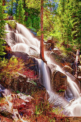 Painting - Colorful Cascade Waterfall On Tioga Pass Ap by Dan Carmichael