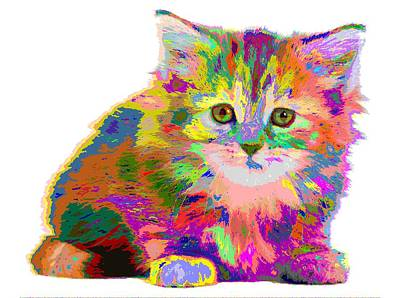 Painting - Colorful Cat 01 by Samuel Majcen