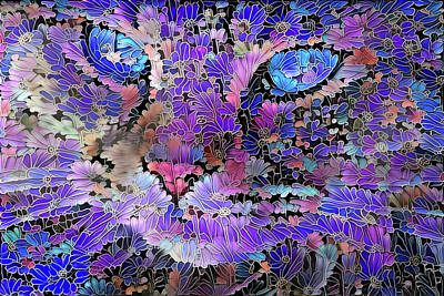 Digital Art - Flower Cat 2 by Peggy Collins