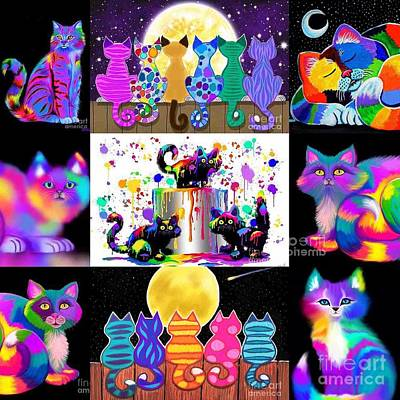 Critters Digital Art - Colorful Cat Collage  by Nick Gustafson
