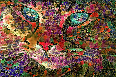 Digital Art - Flower Cat 1 by Peggy Collins