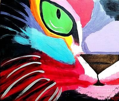 Mental Painting - Colorful Cat Face Portrait by Scott D Van Osdol