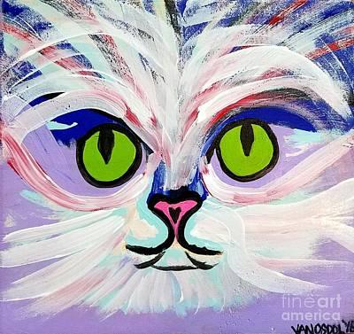 Mental Painting - Colorful Cat Face Portrait - White  by Scott D Van Osdol