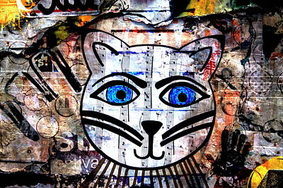 Fanciful Photograph - Colorful Cat Graffiti Number 2 by Carol Leigh