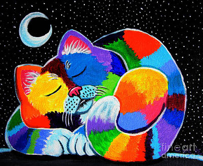 Lovers Art Painting - Colorful Cat In The Moonlight by Nick Gustafson