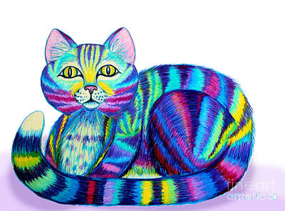 Animals Drawings - Colorful Cat by Nick Gustafson