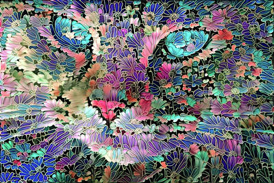 Digital Art - Flower Cat  by Peggy Collins