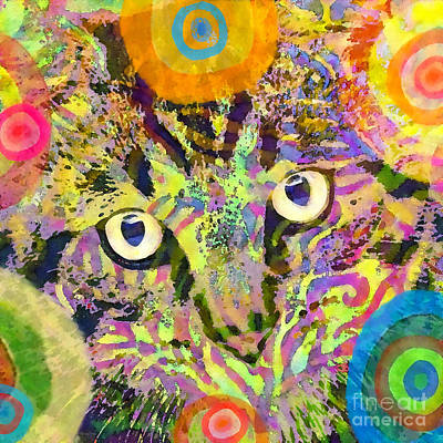 Watercolor Pet Portraits Mixed Media - Colorful Cat Print by Stacey Chiew