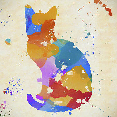 Painting - Colorful Cat Splatter by Dan Sproul