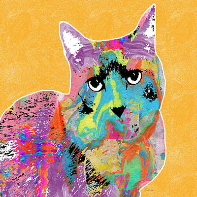 Colorful Cat With An Attitude- Art By Linda Woods Art Print