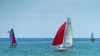 Photograph - Colorful Catamarans 3 Delray Beach Florida by Lawrence S Richardson Jr