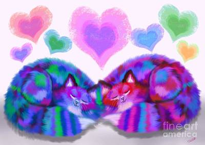 Kitty Digital Art - Colorful Cats And Hearts by Nick Gustafson