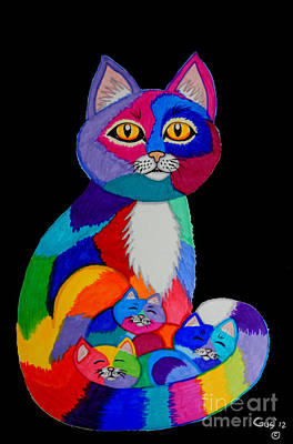Animals Drawings - Colorful Cats and Kittens by Nick Gustafson