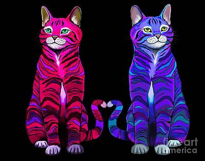 Digital Art - Colorful Cats Together by Nick Gustafson