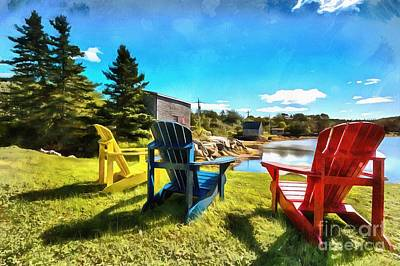 Digital Art - Colorful Chairs On A Bright Day by Eva Lechner