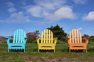 Photograph - Colorful Chairs On Martha's Vineyard by Walter Rowe