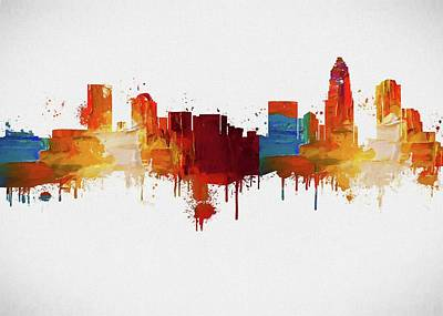Queen City Skyline Painting - Colorful Charlotte Skyline Silhouette by Dan Sproul