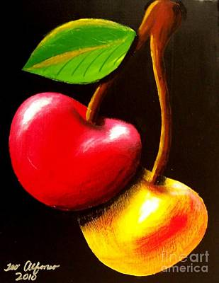 Painting - Colorful Cherries by Teo Alfonso