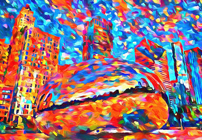 Millennium Park Painting - Colorful Chicago Bean by Dan Sproul