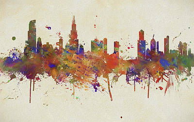 Painting - Colorful Chicago Illinois Skyline by Dan Sproul