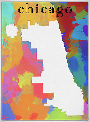 Painting - Colorful Chicago Map Outline by Dan Sproul