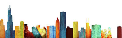 Lake Michigan Digital Art - Colorful Chicago Skyline by Art Spectrum