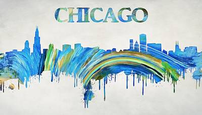 Chicago Skyline Mixed Media - Colorful Chicago Skyline by Dan Sproul