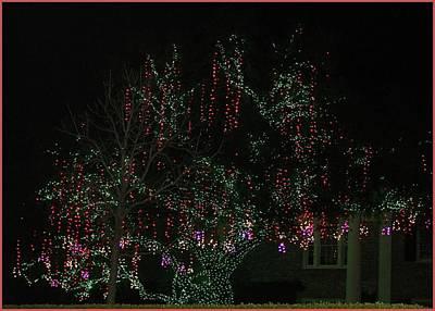 Art Print featuring the digital art Colorful Christmas Lights by Ellen Barron O'Reilly