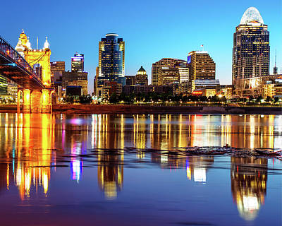 Photograph - Colorful Cincinnati Night Skyline Reflections by Gregory Ballos