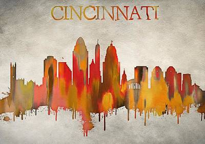 Queen City Skyline Painting - Colorful Cincinnati Ohio Skyline by Dan Sproul