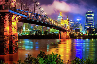 Photograph - Colorful Cincinnati Skyline Cityscape by Gregory Ballos