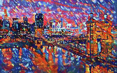 Painting - Colorful Cincinnati Skyline by Dan Sproul