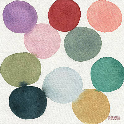 Colorful Circles Abstract Watercolor Art Print