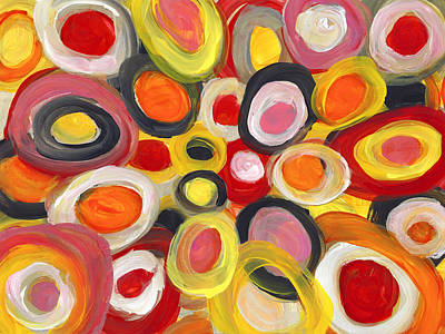 Painting - Colorful Circles In Motion  1 by Amy Vangsgard