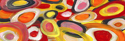 Landscapes Mixed Media - Colorful Circles In Motion Panoramic Horizontal by Amy Vangsgard