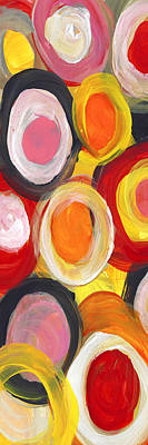 Painting - Colorful Circles In Motion Panoramic Vertical by Amy Vangsgard