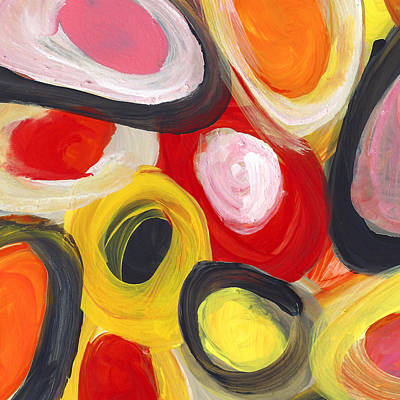 Painting - Colorful Circles In Motion Square 1 by Amy Vangsgard