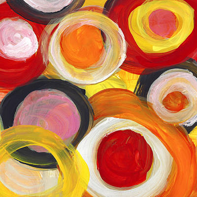 Painting - Colorful Circles In Motion Square 2 by Amy Vangsgard