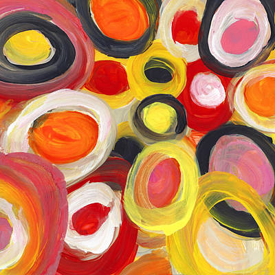 Abstract Forms Painting - Colorful Circles In Motion Square 3 by Amy Vangsgard
