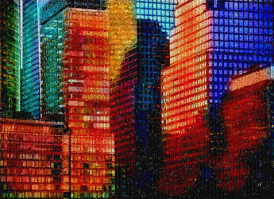 Digital Art - Colorful City Abstract Mosaic by Shelli Fitzpatrick