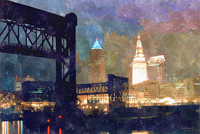Lake Erie Painting - Colorful Cleveland by Kenneth Krolikowski