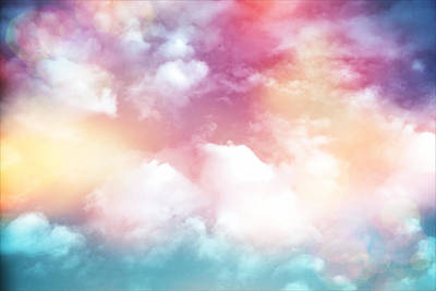 Photograph - Colorful Clouds With Lens Flare by Serena King