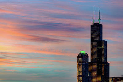 Photograph - Colorful Cloudy Sunset And Willis Tower by Patrice Bilesimo