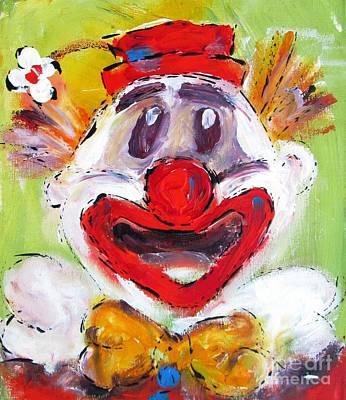 Clown Painting - Colorful Clown  by Mary Cahalan Lee- aka PIXI