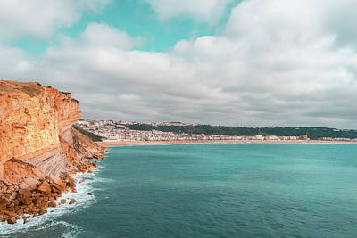 Photograph - Colorful Coast In Teal And Orange At Nazare Portugal by Georgia Mizuleva